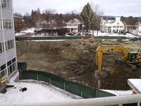 Dealing with buried foundation walls, foreground and piled in background