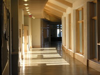 First floor hallway past classrooms to admin area and undergraduate commons
