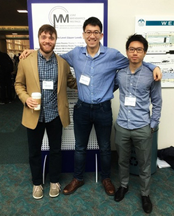 Dartmouth Math undergraduate students Tucker Evans '19, Jonathan Meng '18, and Herbert Ho-Chun Chang '18 (from left) are invited to present their research work with Professor Feng Fu at the <a href='http://jointmathematicsmeetings.org/jmm'>2018 Joint Mathematics Meetings</a> in San Diego.