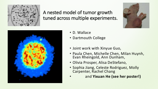 <span class='showcase'>Prof. Dorothy Wallace</span> gave a talk at the <a href='http://jointmathematicsmeetings.org/jmm'>2017 Joint Mathematics Meetings in Atlanta</a> on a model of cancer tumor growth. Among her many collaborators are numerous undergraduates: Paula Chen, Michelle Chen, Milan Huynh, Evan Rheingold, Ann Dunham, Sophia Jiang, Celeste Rodriguez, Molly Carpenter, Rachel Chang and Yixuan He.